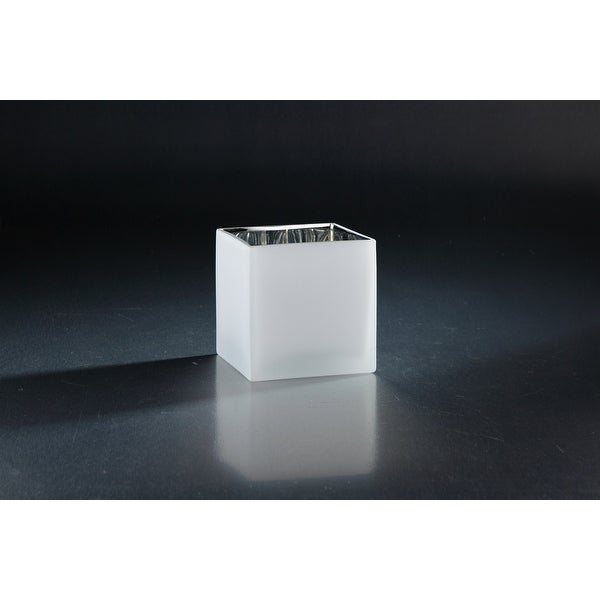 "4.5"" Frosted White Glass Tabletop Square Vase - N/A"