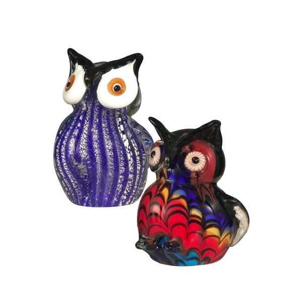 Dale Tiffany AS12050 2-Piece Owl Figurines with Hand Blown Art Glass - N/A