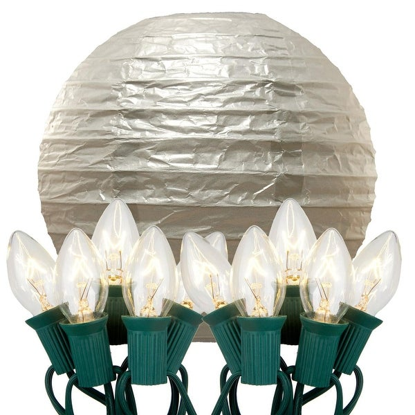 """Pack of 10 Silver Glowing Garden Patio Round Lighted Chinese Lanterns 14"""""""