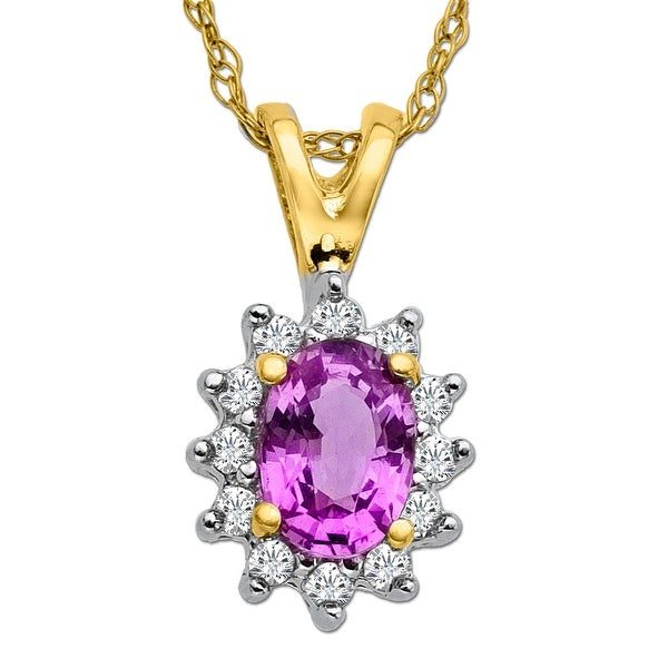 5/8 ct Natural Pink Sapphire & 1/8 ct Diamond Pendant in 10K Gold