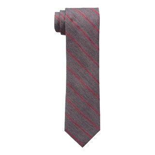Calvin Klein NEW Heather Charcoal Gray Red Men's Slim Striped Neck Tie
