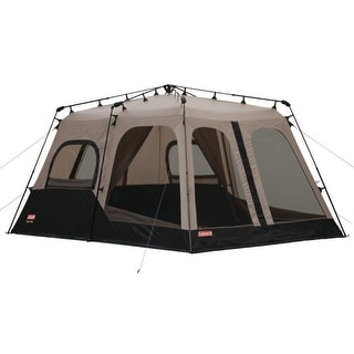Coleman 8 Person Family CAMPING TENT, 14 x 10 Feet Two Room INSTANT TENT, Brown