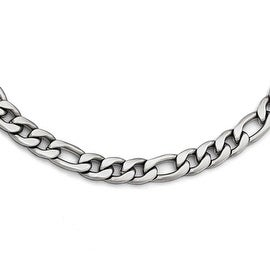 Chisel Stainless Steel Satin Figaro Chain Necklace - 18 in