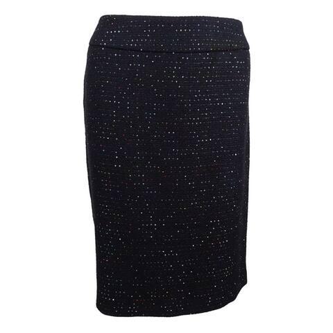 Nine West Women's Plus Size Sequined Tweed Pencil Skirt - Black Multi