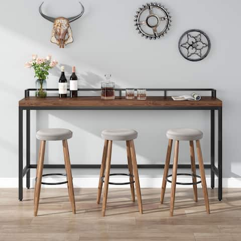 Tribesigns 71 Inch Extra long sofa table Solid Wood Narrow Console Tables Behind Sofa Couch table(Not include Stool)