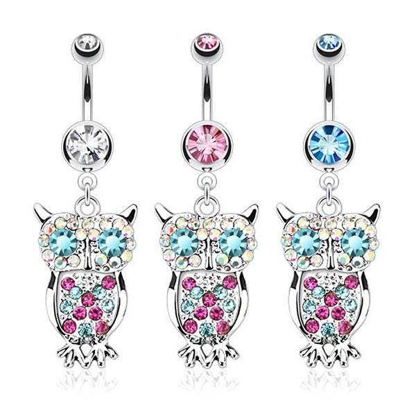 Owl with Multi Colored Gems Dangle Navel Belly Button Ring 316L Surgical Steel (Sold Ind.)