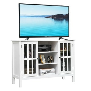 Gymax Wood TV Stand Storage Console Free Standing Cabinet Holds Up To A 45'' TV