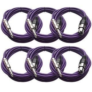 "Seismic Audio SEISMIC (6) Purple 1/4"" TRS XLR Female 10' Patch Cables"