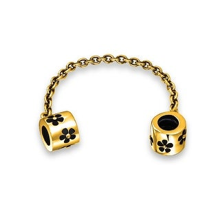 Bling Jewelry Daisy Flower Safety Chain Bead Charm Gold Plated .925 Sterling Silver