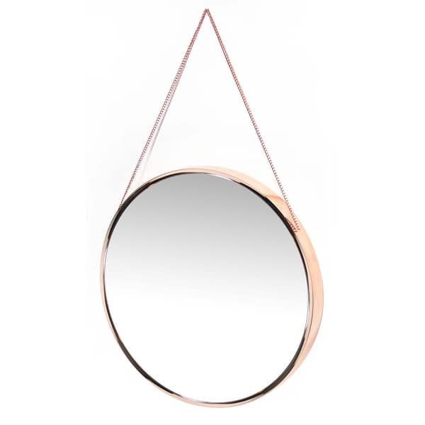 Carson Carrington Kabbo Pink Rose Gold Round Wall Mirror Gold Copper 19 X 21 X 3 Overstock 18077948