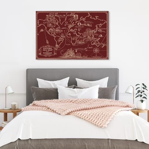 Wynwood Studio 'Tea Map of The World Berry' Maps and Flags Wall Art Canvas Print World Maps - Red, White