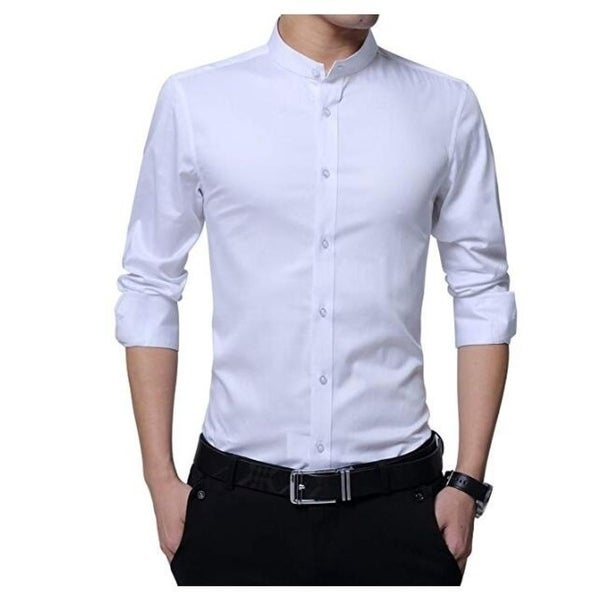 affce14ff Men's Casual Shirt Banded Collar Long Sleeve Slim Fit Tuxedo Shirt  Cotton