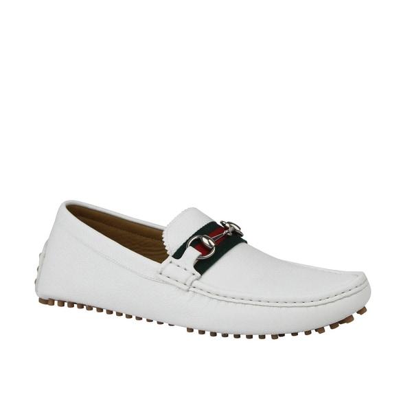 adebd445 Shop Gucci Men's Horsebit Loafer White Leather Driver Shoe GRG Web ...