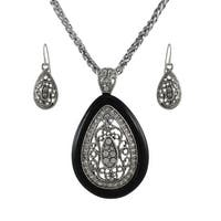 Silver and Black Teardrop Rhinestone Necklace and Dangle Earrings Set