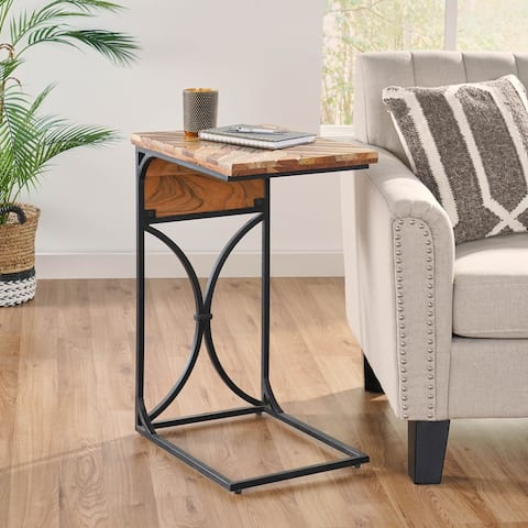 Oakes Mango Wood Handcrafted C Shaped Side Table by Christopher Knight Home - 18.00 D x 14.00 W x 27.00 H