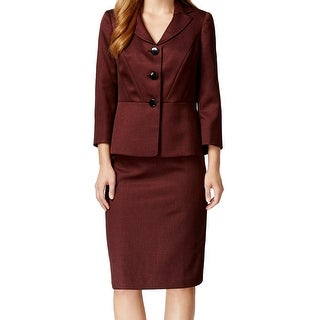 Le Suit NEW Red Women's Size 10 Notched-Collar Seamed Skirt Suit Set