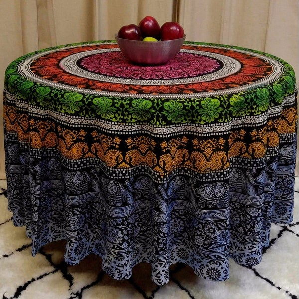 "Handmade 100% Cotton Elephant Mandala Floral 81"" Round Tablecloth"