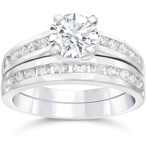 2 Ct Diamond Engagement Wedding Ring Set Channel Set 14k White Gold Clarity Enhanced