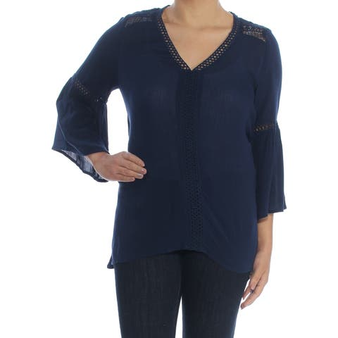 JOHN PAUL RICHARD Womens Navy Eyelet Bell Sleeve V Neck Hi-Lo Top Size: S