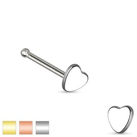 Heart Top 316L Surgical Steel Nose Stud (Sold Individually)