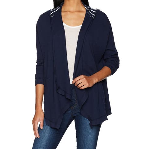 Three Dots Women's Sweater Navy Blue Size Large L Cardigan Thermal