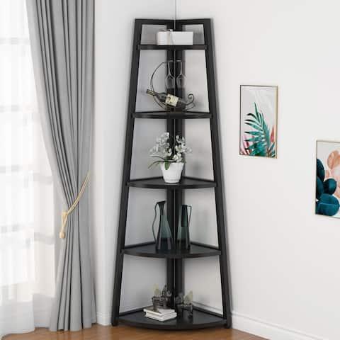 70 inch Tall Corner Shelves, 5 Tier Corner Bookshelf Bookcase Indoor Plant Stand
