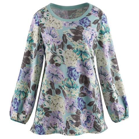 Women's Floral Print on Mint Green Tunic Sweatshirt - Long Sleeves, 100% Cotton