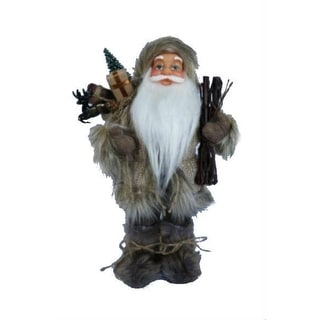 """13"""" Alpine Chic Beige and Gray Santa with Snowshoes and Gift Bag Decorative Christmas Figure"""
