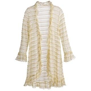 Kaktus Women's Open-Front Cardigan- Crocheted Ruffled Gold Threaded Long Tunic Sweater - Ivory
