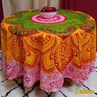 Handmade 100% Cotton Blooming Floral Heart Medallion Print Tablecloth 81 Inch Round Beach Throw Beach Sheet Green Blue Yellow