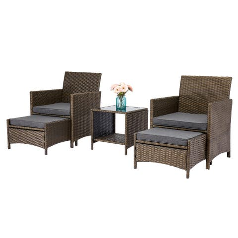 Kinsunny 5-Piece Outdoor Wicker Bistro Set with Ottoman and Glass Side Table Porch Conversation Sets Patio Furniture w/Cushions