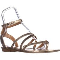 SC35 Bahara Flat Ankle Strap Sandals, Gold