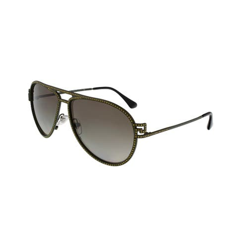 Versace VE2171B 13928E Military Green Aviator Crystal Sunglasses - 59-13-135