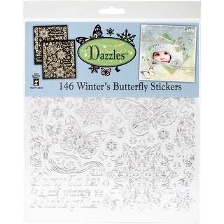 "Winter Butterflies-Pearl Silver - Dazzles Stickers 8""X9"" 2/Pkg"