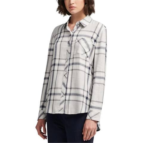 Dkny Womens Plaid Button Up Shirt