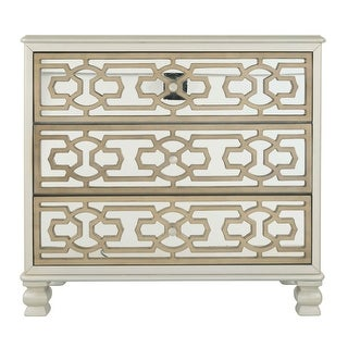 Ashley Furniture A4000068 Gold/Silver Finish Three Drawer Senzernell Accent Cabinet
