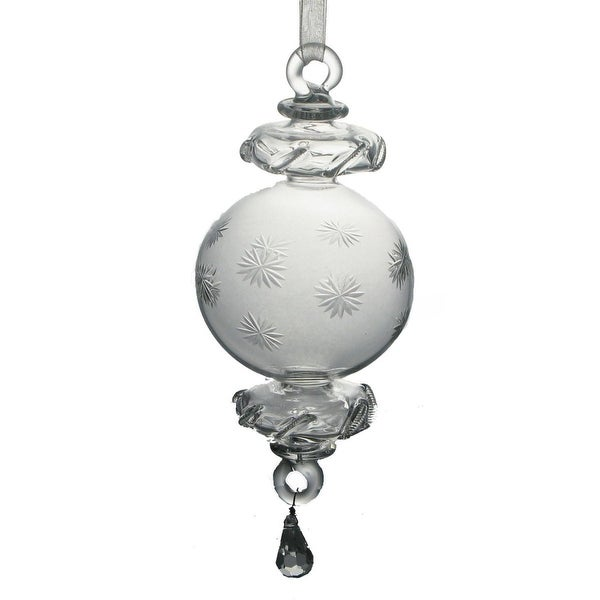 Set of 2 Mouth Blown Etched Clear Egyptian Glass Ball Christmas Ornaments 7""