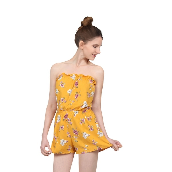 f4932ff64159 NE PEOPLE Women  x27 s Comfy Floral Printed Sleeveless Tube Top Romper