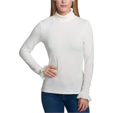 Tommy Hilfiger Womens Flounce-Cuff Basic T-Shirt