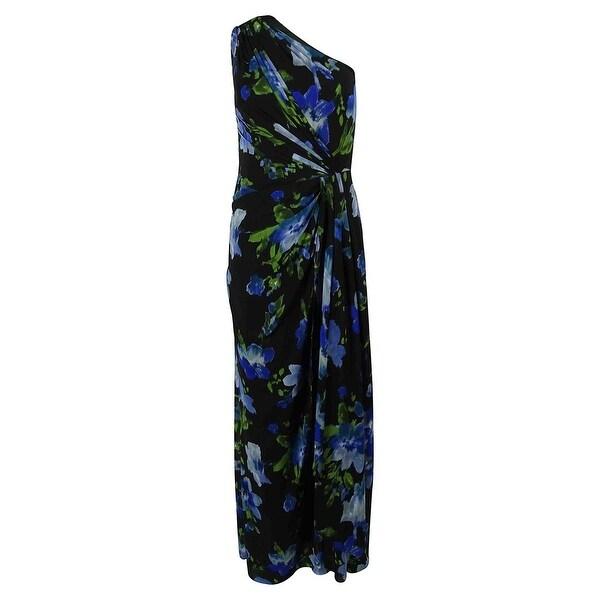 Ralph Lauren Women's One Shoulder Floral Print Gown - Black/multi
