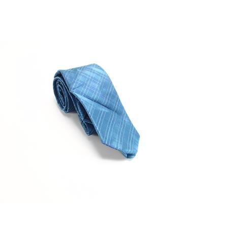 Calvin Klein Men's Blue Satin Triple Pane Classic Neck Tie Silk