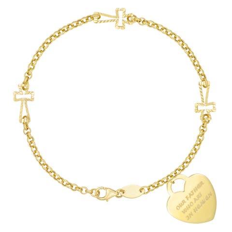 """Forever Last 10KT Gold Bonded over Silver """"Cross/Heart""""Bracelet"""