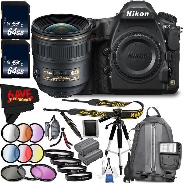 Nikon D850 DSLR Camera (Body Only) 1585 International Model + Nikon AF-S NIKKOR 24mm f/1.4G ED Lens Bundle