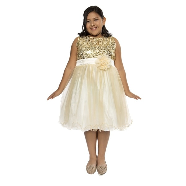 608a6adca Shop Kids Dream Girls Gold Sequin Plus Size Junior Bridesmaid Dress - Girls  Plus 16.5 - Free Shipping Today - Overstock - 28298129