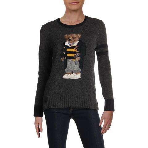 Polo Ralph Lauren Womens Bear Crewneck Sweater Wool Graphic