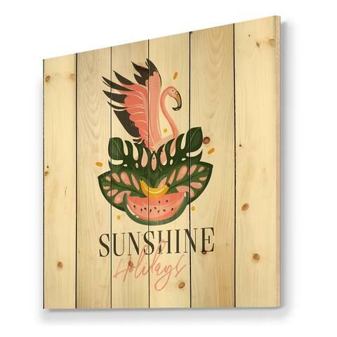 Designart 'Hand Drawn Tropical Sign With FLamingo Bird Watermelon' Modern Print on Natural Pine Wood