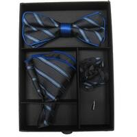 Men's Blue & Black Striped Bow Tie with matching Hanky And Lapel Flower - One size