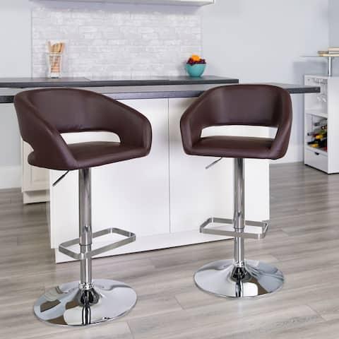 Chrome Upholstered Height-adjustable Rounded Mid-back Barstool