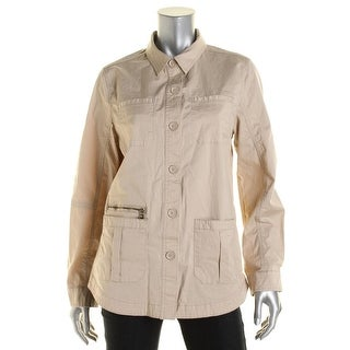 Tommy Hilfiger Womens Khaki Slit Pockets Button-Down Top - L