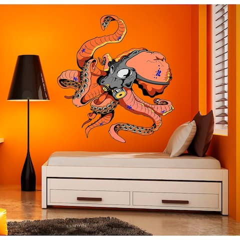 Masked Octopus Decal, Masked Octopus Sticker, Masked Octopus Wall Decor